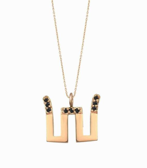 14K THUNDER NECKLACE & BLACK DIAMONDS