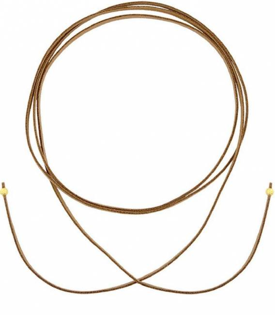 Brown Suede CHOKER & 18k yellow gold Silver plated Beads