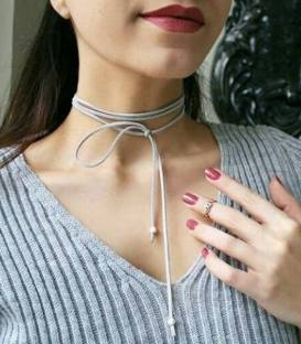 Light Grey Suede CHOKER & Silver Beads