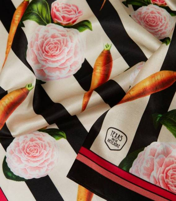 Carrots & Roses Silk scarf