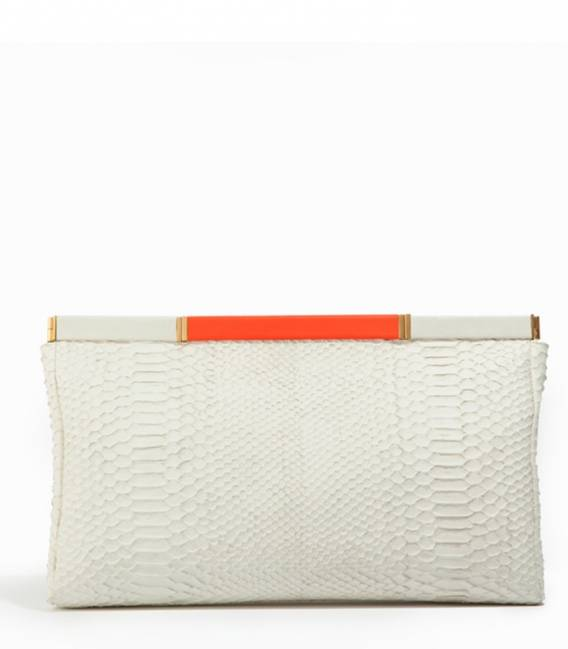 Big Leather Clucth bag White