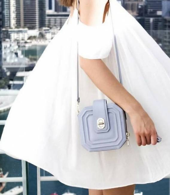 Mini Asscher Box bag Blue-grey